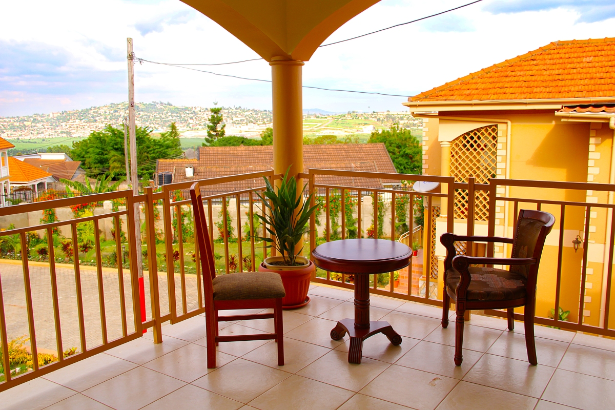 The Spectacular view of Kampala from Apricot Guesthouse balconies